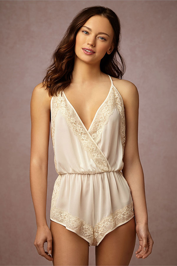 BHLDN Bridal Lingerie Collection - Alabaster Lace Romper
