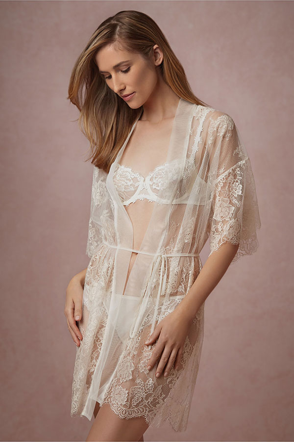 BHLDN Bridal Lingerie Collection - Mae Chantilly Lace Robe