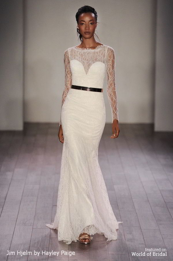 Jim Hjelm By Hayley Paige Spring 2016 Ivory Chantilly Lace Modified A Line Bridal Gown