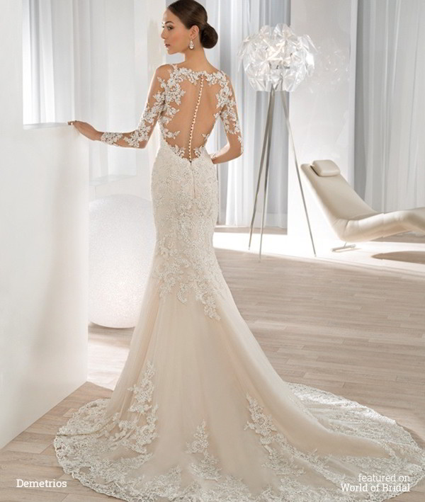 Demetrios 2016 wedding dresses world of bridal for Fit n flare lace wedding dress