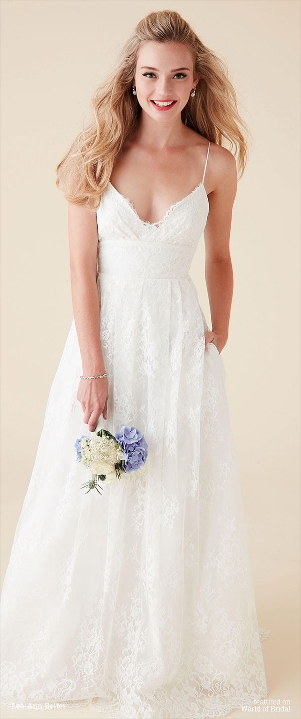 Lea ann belter 2016 wedding dresses world of bridal for Spaghetti strap wedding dress with pockets