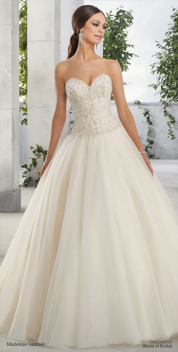 Skirt With Plain Waistband Madeline Gardner 2016 Wedding Dress A Strapless Beaded Bodice Sweetheart Neckline