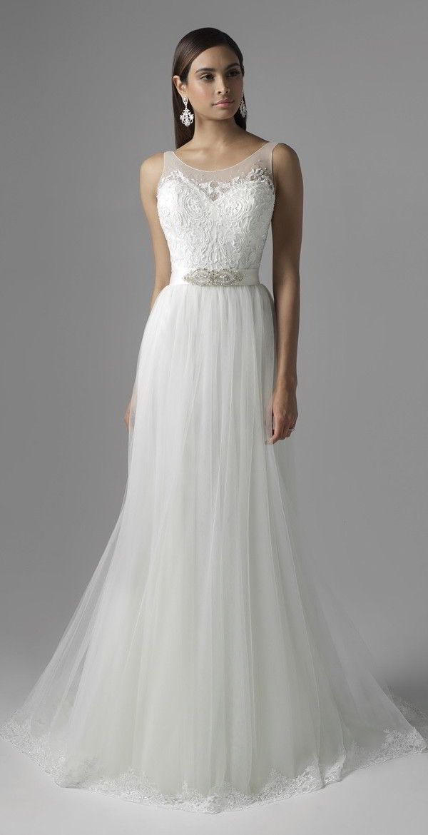 Fitted Lace Over Satin Wedding Dress Beaded Neckline And Sleeves Fit Flare Silhouette With Chapel Length Train