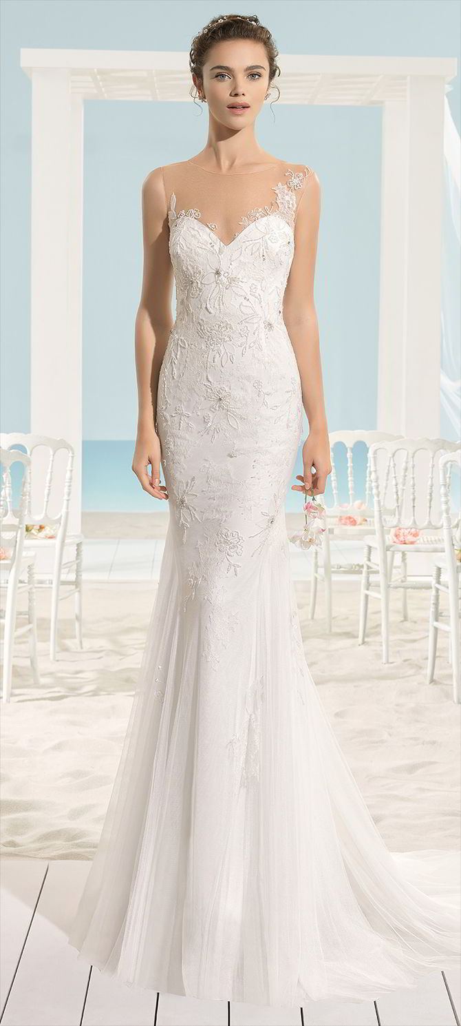 Aire Barcelona 2017 Beach Style With Trumpet Skirt Wedding Dress