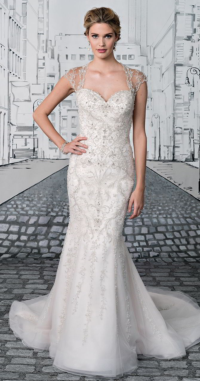 Justin Alexander Bridal Spring 2017 Beaded Fit And Flare Gown