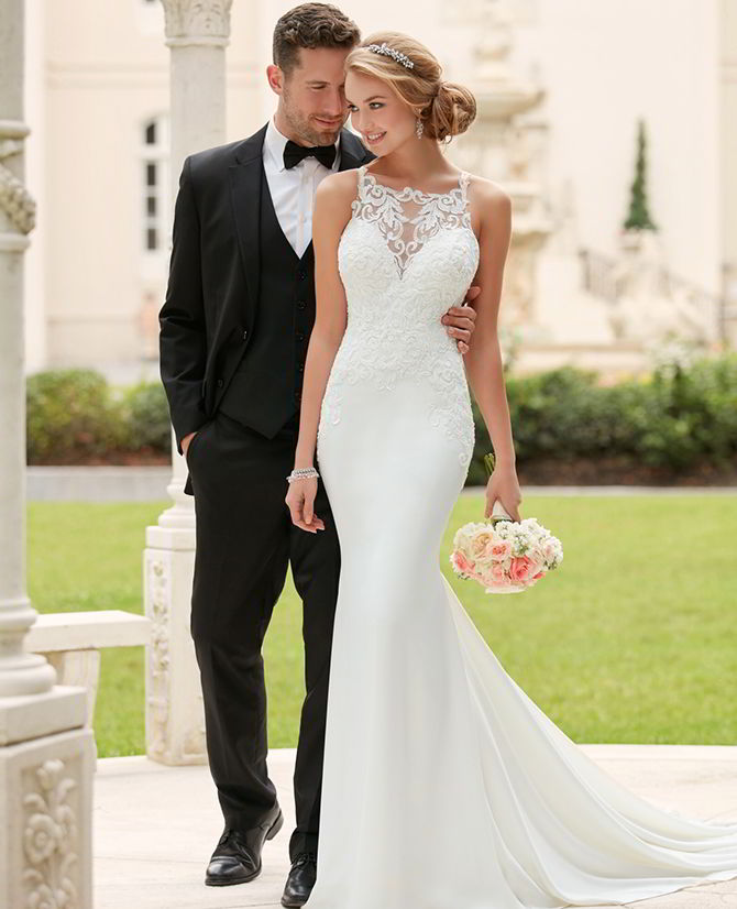 Stella York Spring 2017 High Neck Sheath Wedding Dress