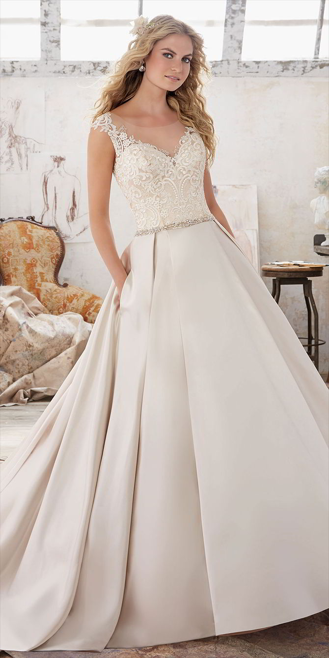 Mori Lee by Madeline Gardner Spring 2017 Beautiful A-Line Wedding Dress