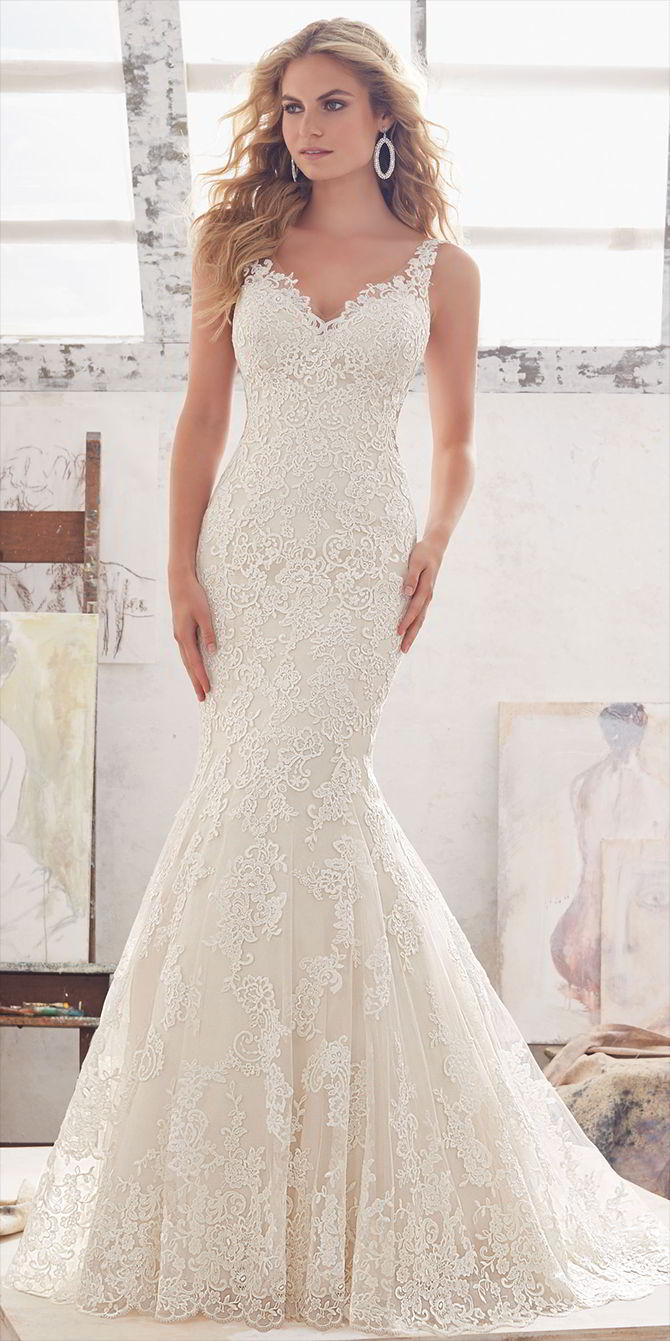 Mori Lee by Madeline Gardner Spring 2017 Beautiful Fit & Flare Wedding Dress