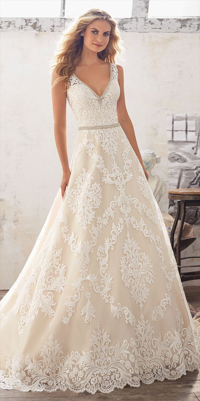 Mori Lee by Madeline Gardner Spring 2017 Classic A-Line Wedding Dress