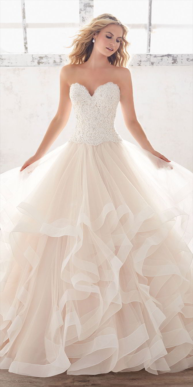 Mori Lee by Madeline Gardner Spring 2017 Ruffled Bridal Ball gown