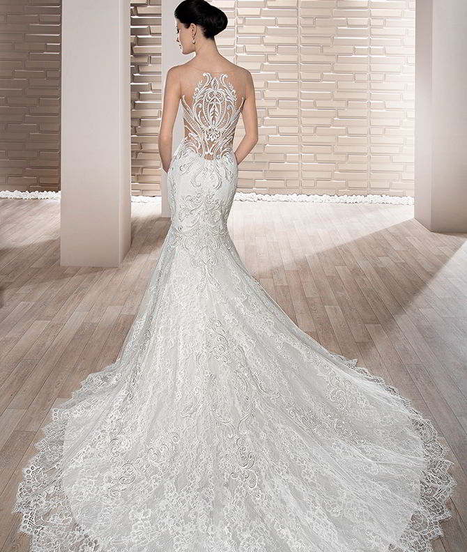Demetrios 2017 Unique Embroidered Venice Lace Fit N Flare Gown