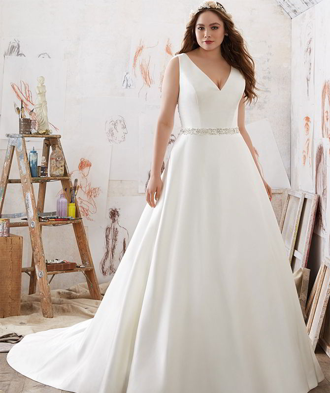 Duchess satin wedding dress images for Plus size silk wedding dresses