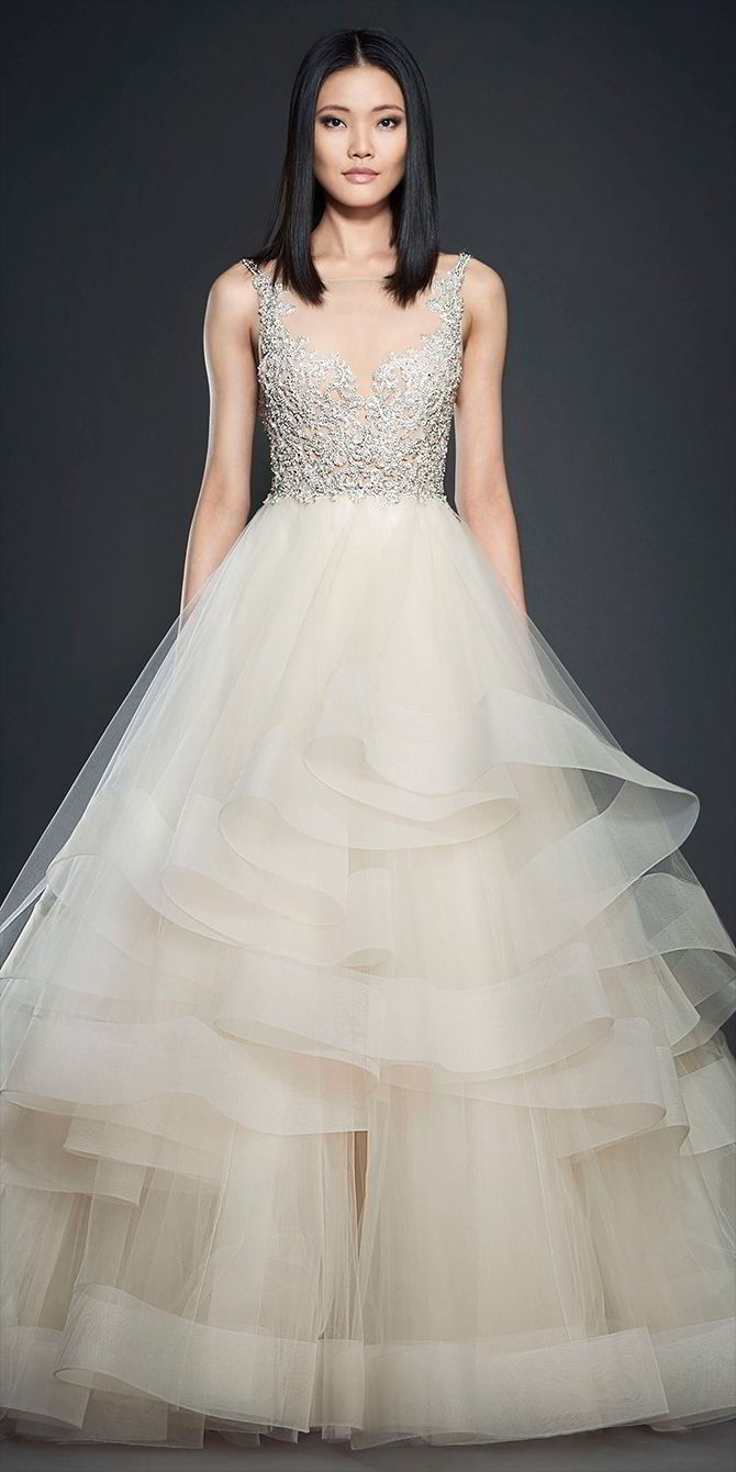 Lazaro Spring 2017 Champagne Tulle Bridal Ball Gown