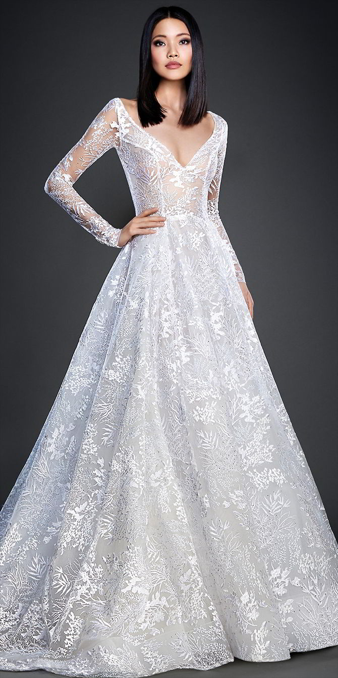 Lazaro spring 2017 wedding dresses world of bridal for Flower embroidered wedding dress