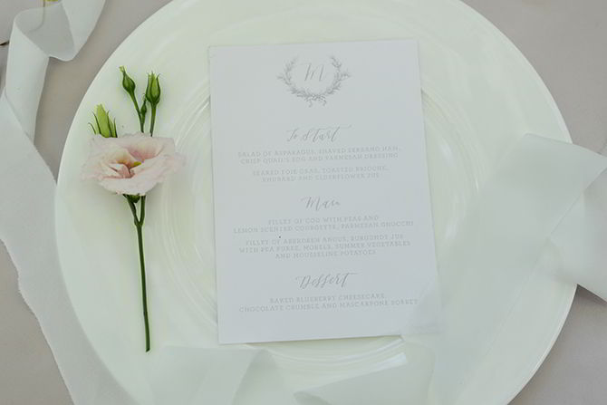 Wedding Food Menu - Morden Hall Styled Wedding - Eva Tarnok Photography