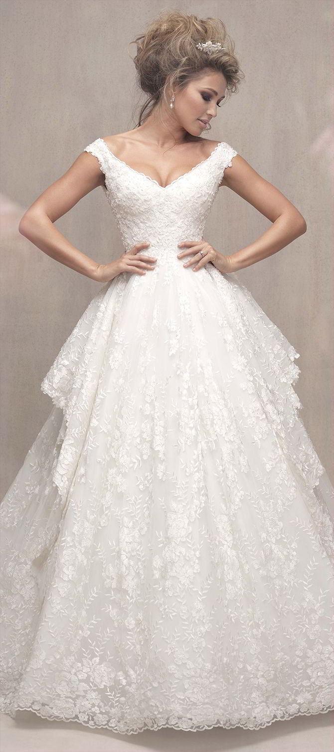 Allure couture fall 2017 wedding dresses world of bridal for Floral wedding dresses 2017