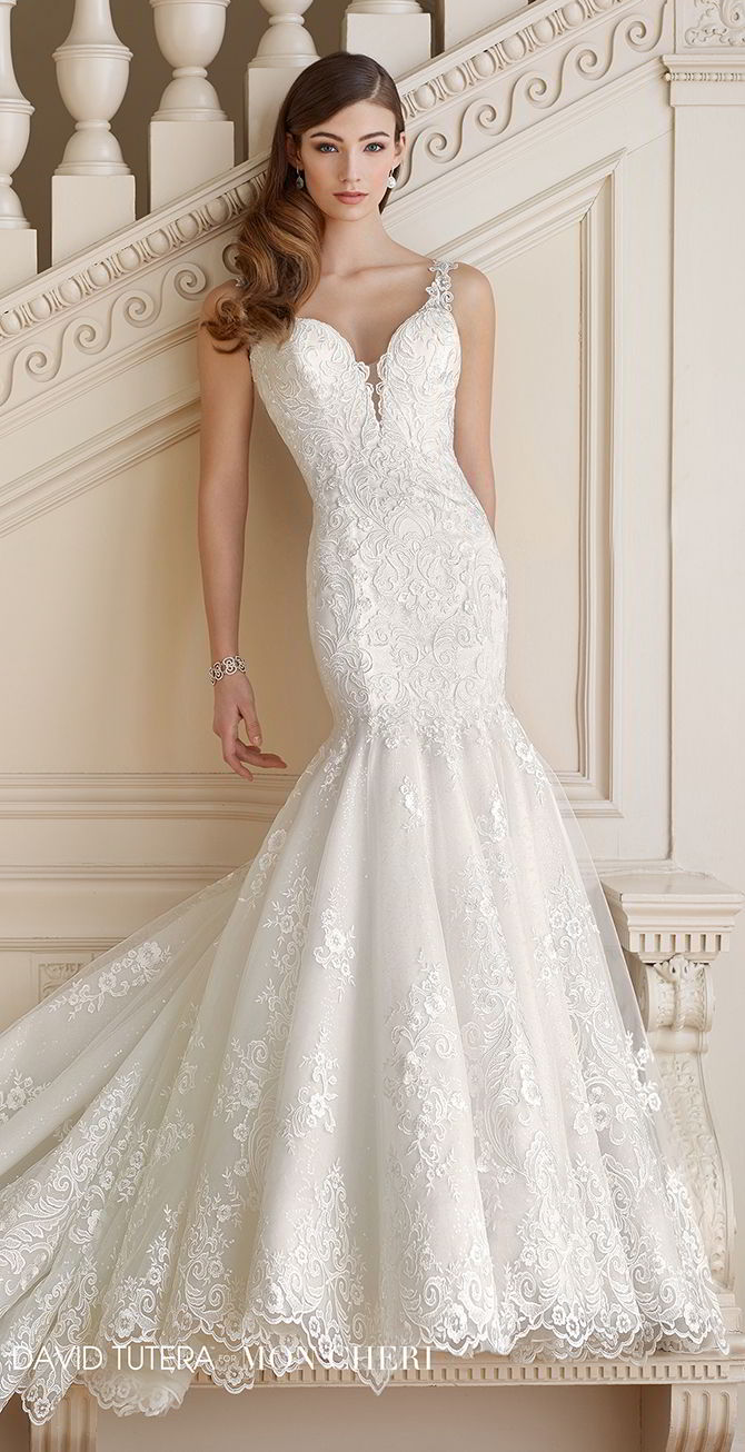David Tutera For Mon Cheri Fall 2017 Schiffli Lace Over Satin Trumpet Wedding  Gown
