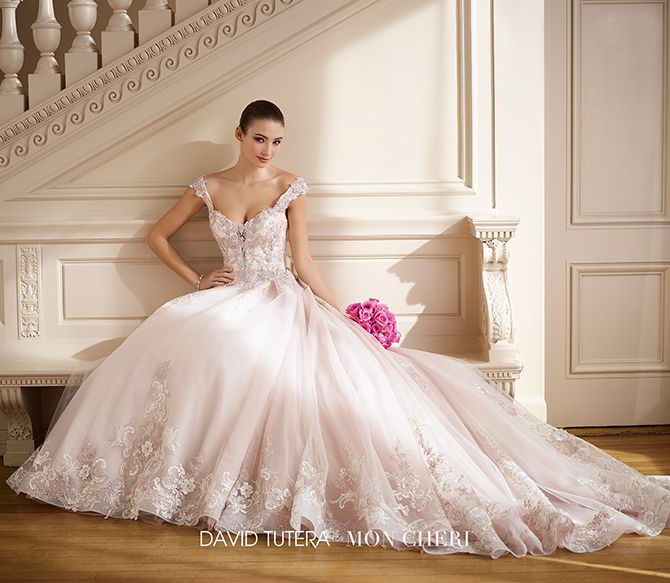 Charming David Tutera For Mon Cheri Fall 2017 Tulle And Satin Wedding Ball Gown