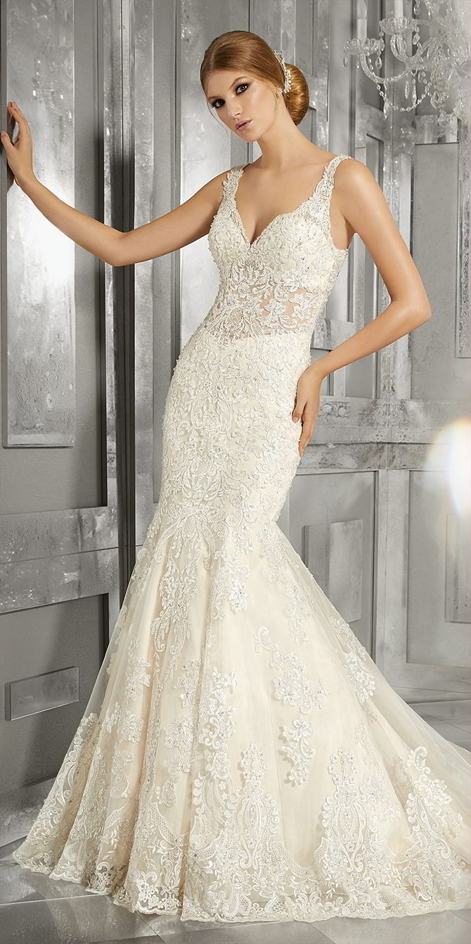 Mori Lee by Madeline Gardner Fall 2017 Luxurious Fit and Flare Wedding Gown