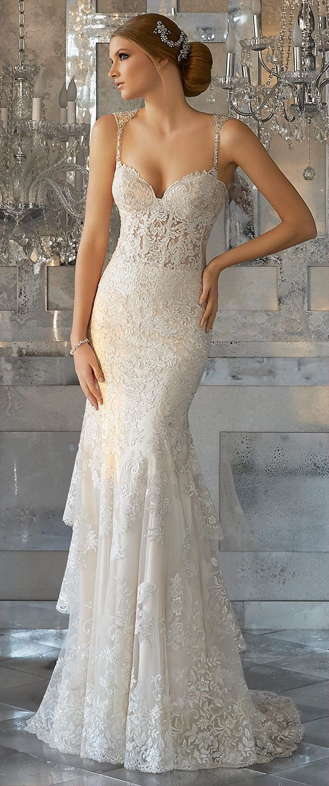 Mori Lee by Madeline Gardner Fall 2017 Slim, Fit and Flare Wedding Dress