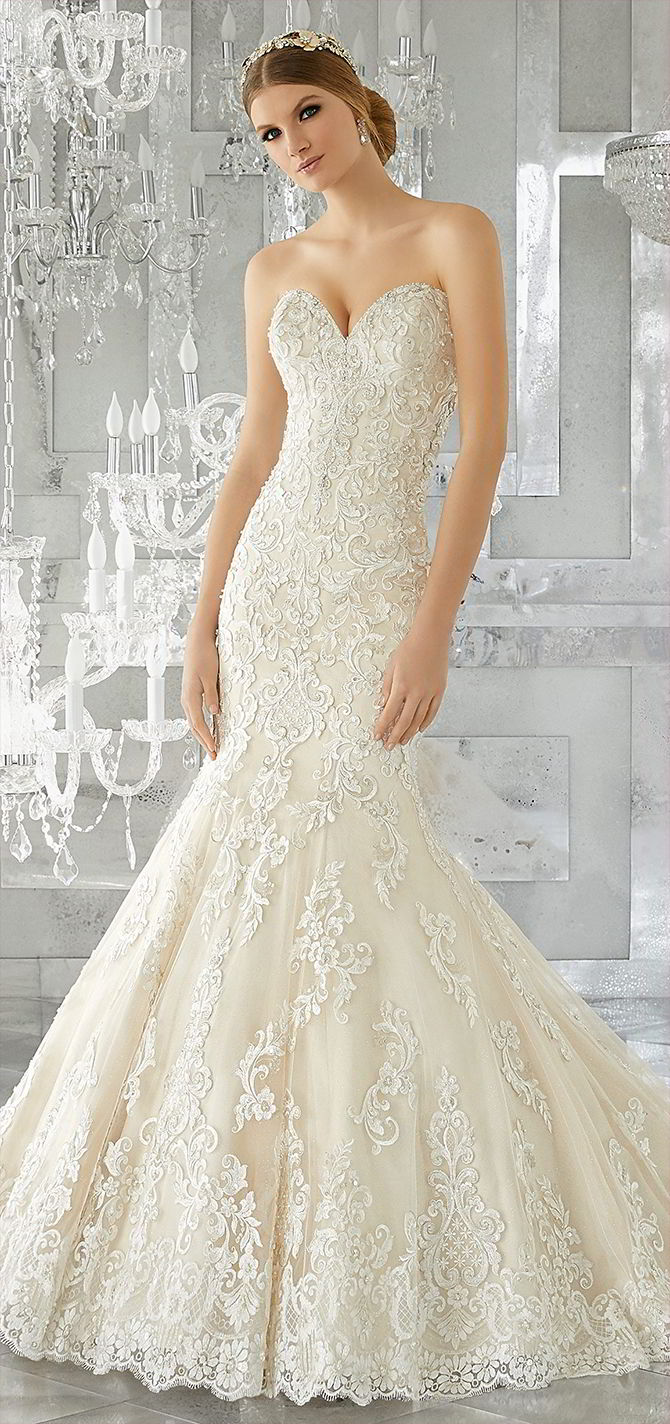 Mori Lee by Madeline Gardner Fall 2017 Stunning Fit and Flare Wedding Gown