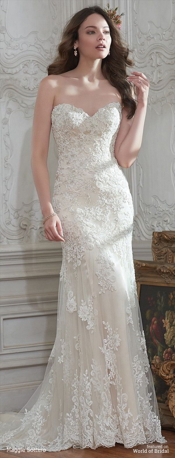 Maggie Sottero Spring 2016 Clic Lace And Tulle Sheath Wedding Dress
