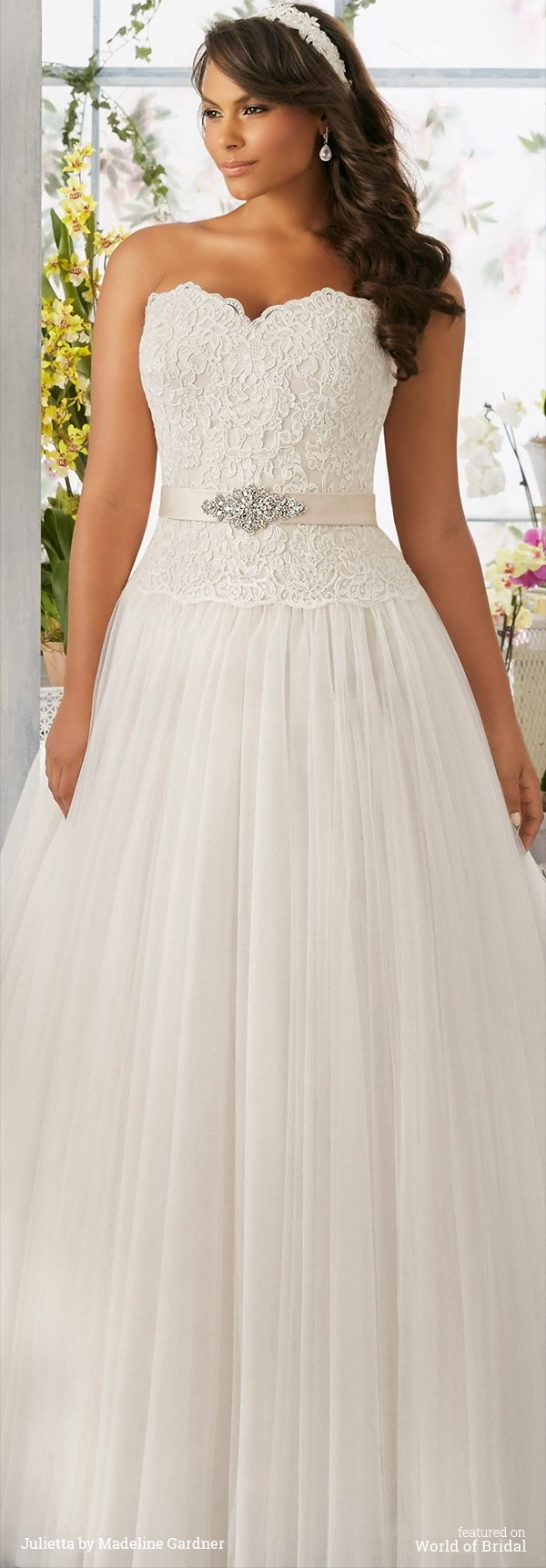 855d107c7814 ... by Madeline Gardner Spring 2016 Plus Size Ball Gown Embroidered Lace  Bodice onto the Soft Net, Ball Gown Skirt with Medallion Beaded Satin  Waistband ...