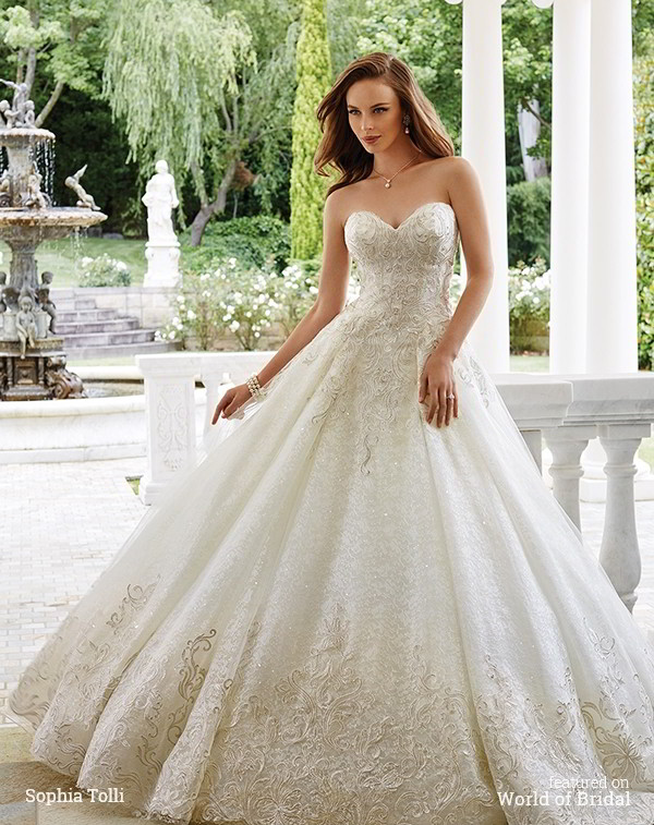 72770d33a16 Sophia Tolli Mon Cheri Fall 2016 Strapless metallic lace over misty tulle  ball gown