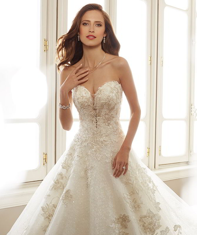 ce52365c5da Sophia Tolli Spring 2017 Strapless allover sequin lace and misty tulle over  sequin ball gown