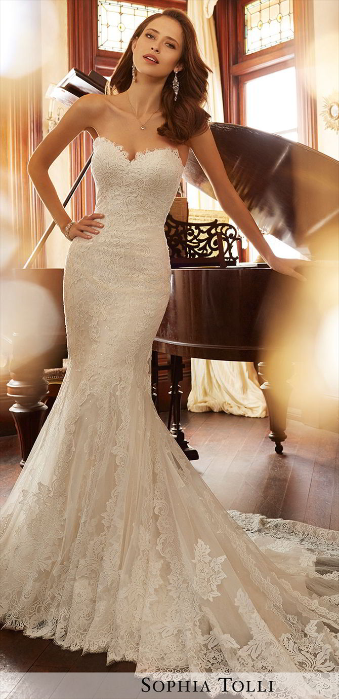 c72ef1776d2d Sophia Tolli Spring 2017 Strapless misty tulle and Chantilly lace applique  over sequin fit and flare