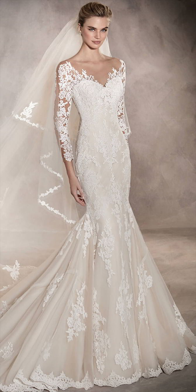 0104a5c36e Pronovias High Neck Lace Wedding Dress – DACC