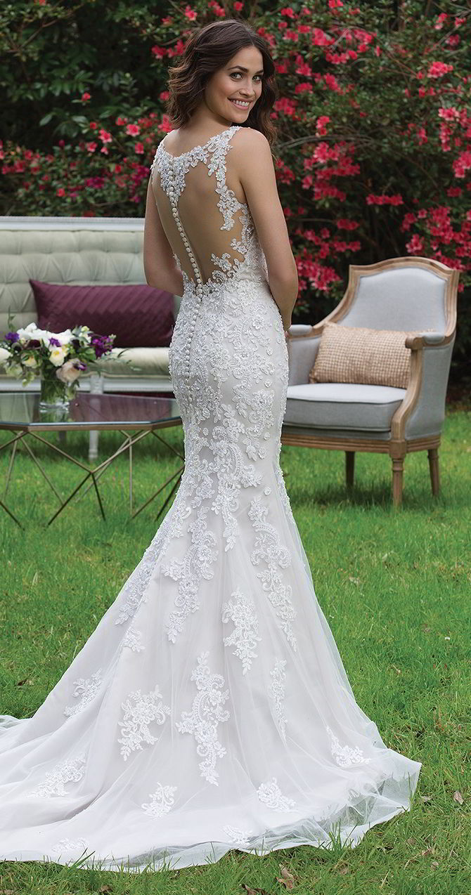 Sincerity Bridal Spring 2017 V Neck Fit And Flare Tulle Gown With Beaded Lace Liques