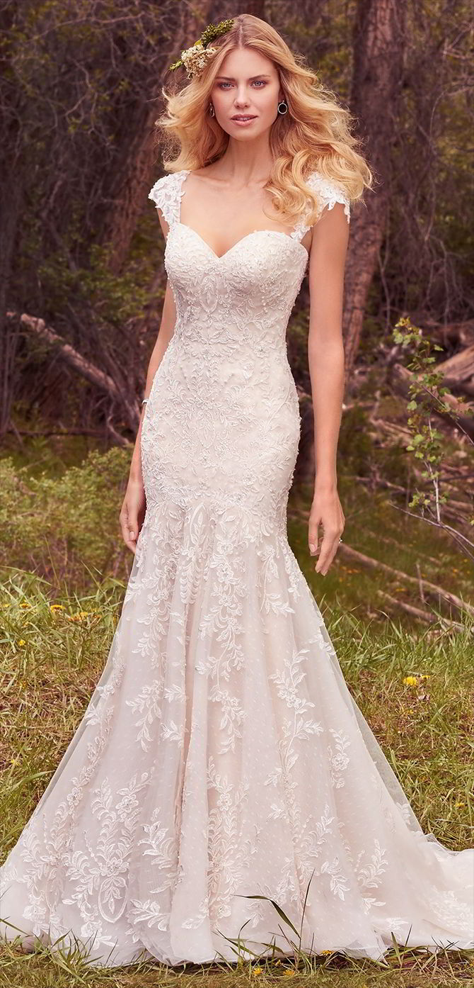 1ad1fc2635f Maggie Sottero Spring 2017 Wedding Dress Lace appliqués cascade down this  ...