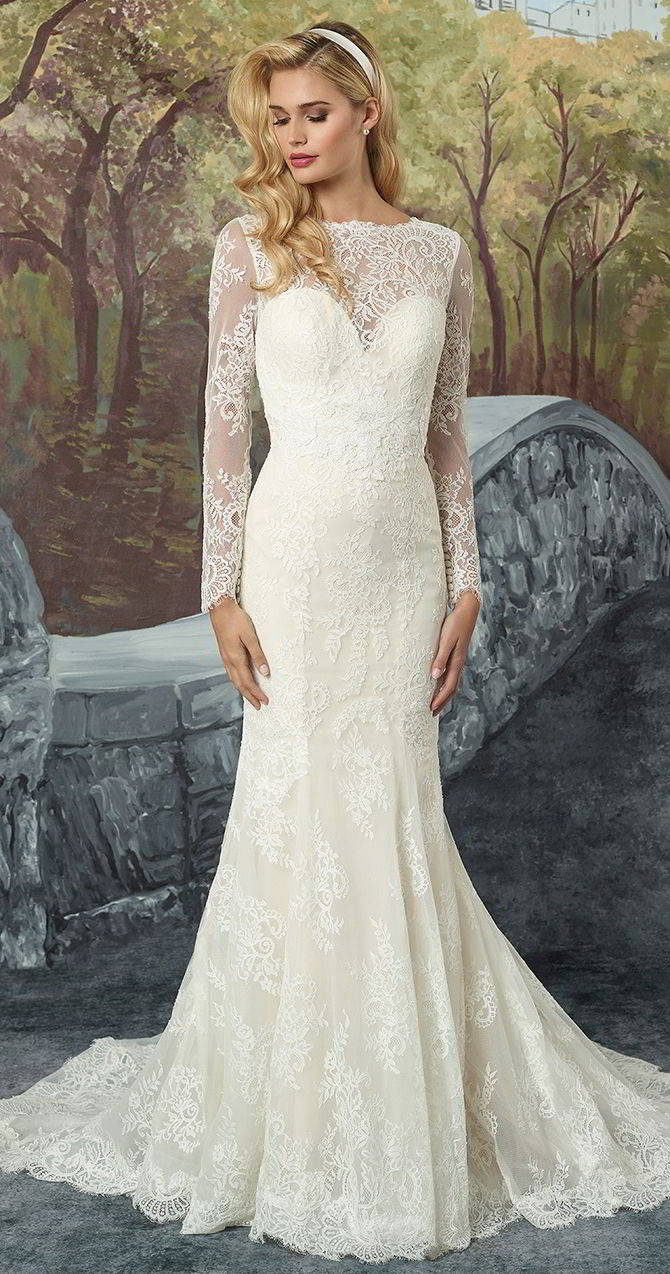 8b9f18f34422 Justin Alexander Fall 2017 Chantilly Lace Fit and Flare with Illusion  Sleeves and Godet Train