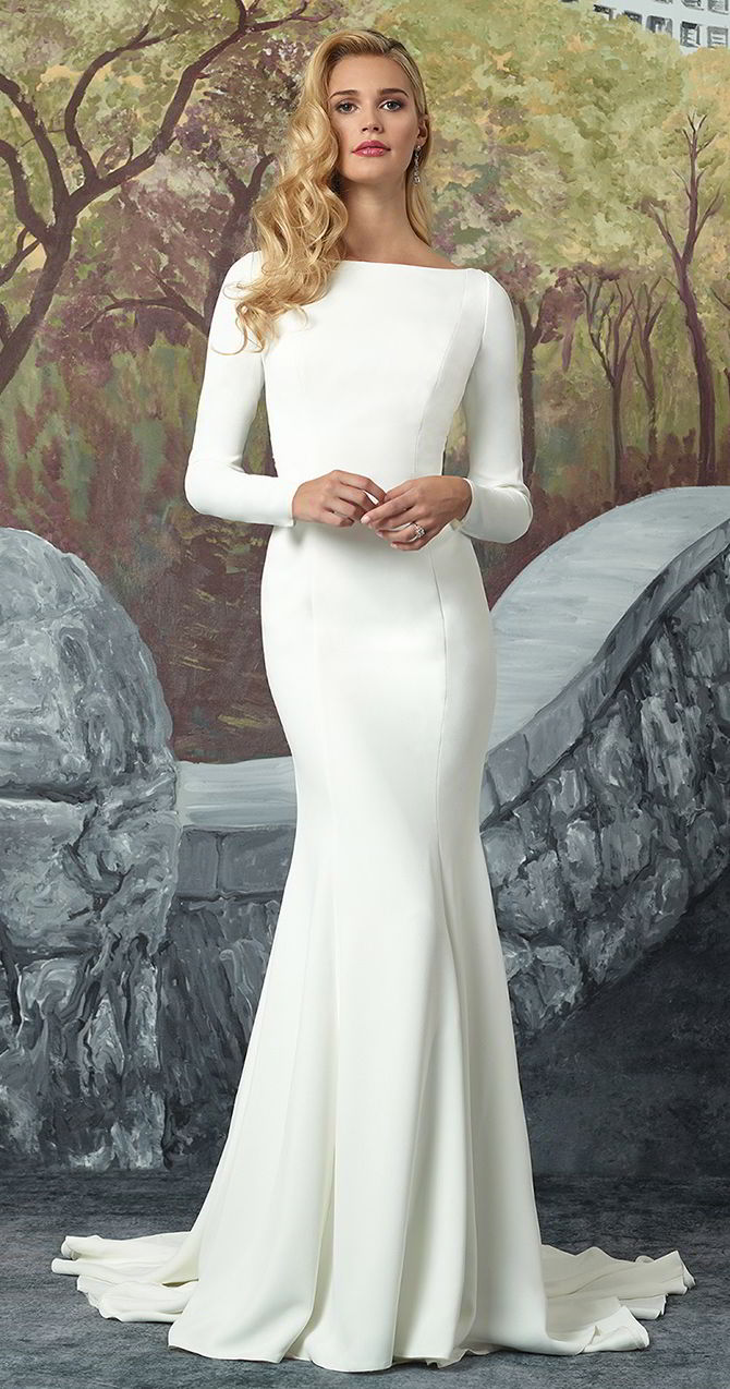 90045642269 Justin Alexander Fall 2017 Crepe Long Sleeved Wedding Dress with Beaded  Illusion Back