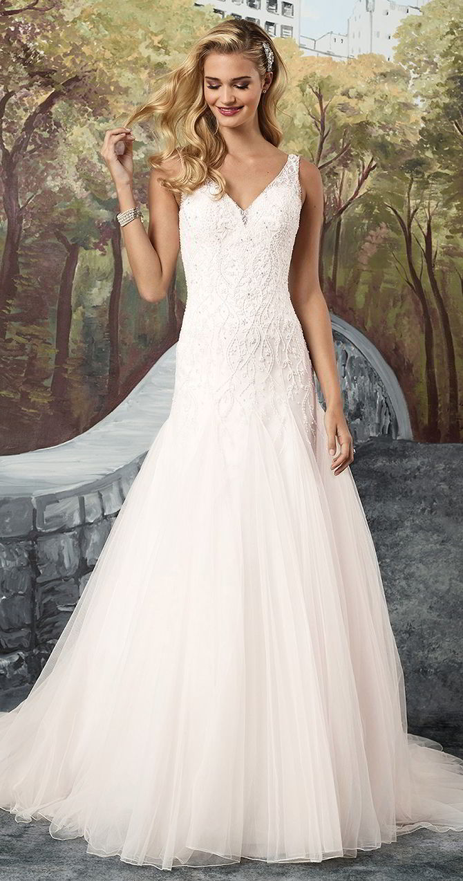 8c1a1458185d Justin Alexander Fall 2017 Tulle A-Line Gown with Sheer Beaded V-Neckline