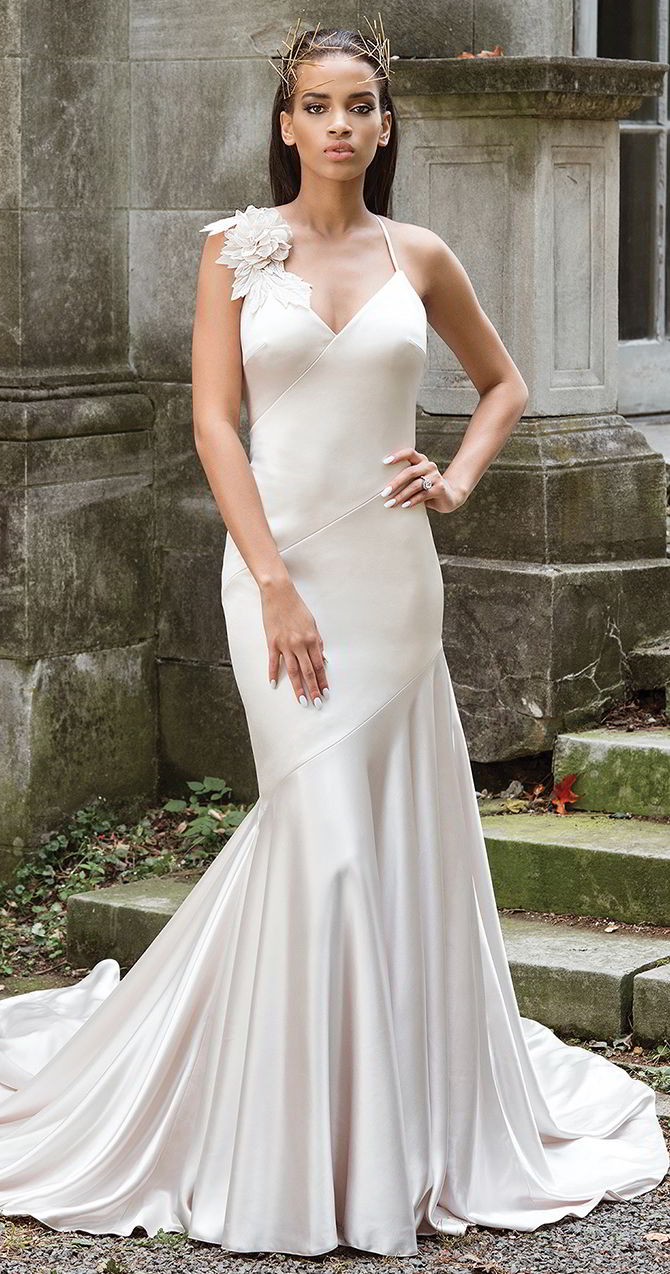3fa4fc8585 Justin Alexander Signature Fall 2017 Luxe Charmeuse Fit and Flare Wedding  Gown with Laser Cut Flowers