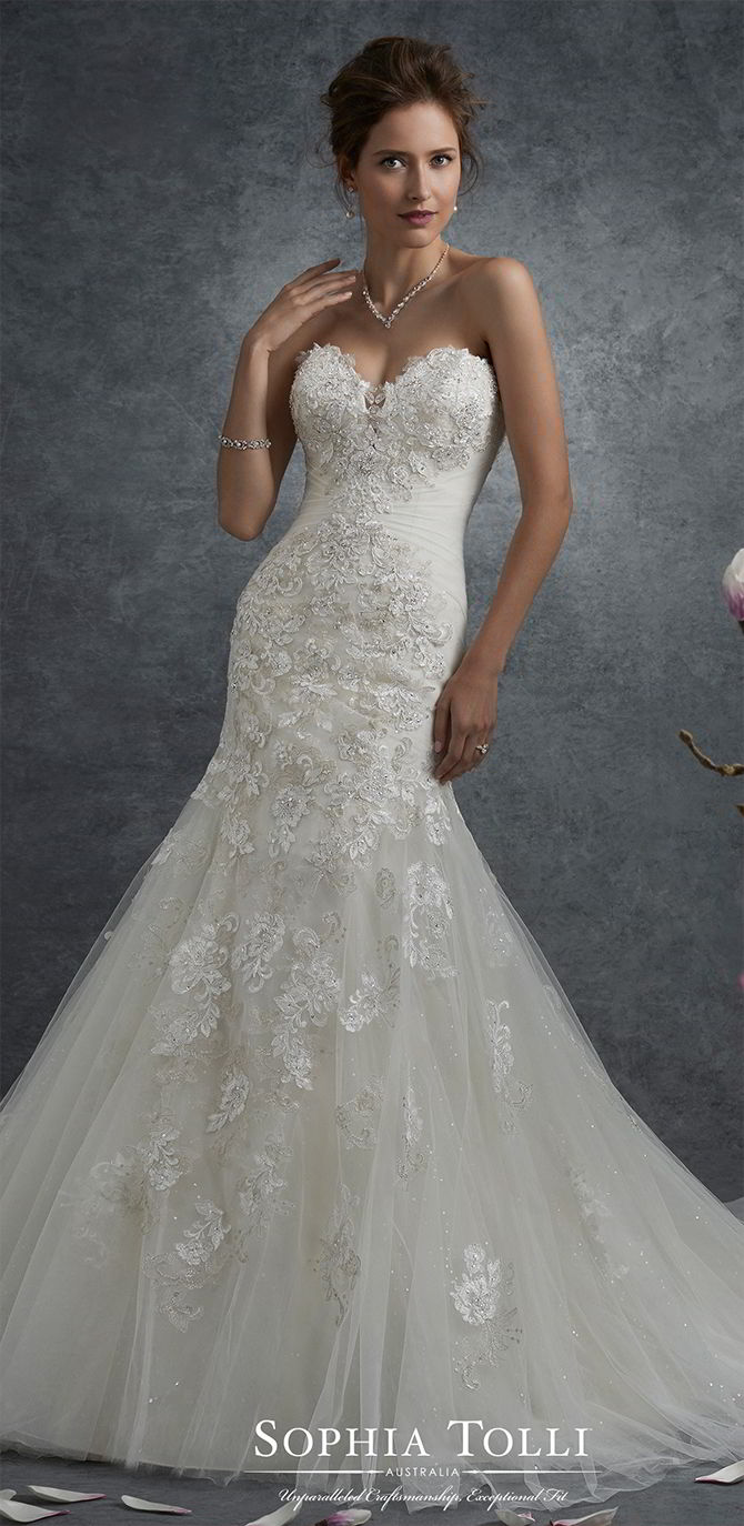 935c0e3cdb79 Sophia Tolli Fall 2017 Lace and shimmer tulle trumpet wedding dress